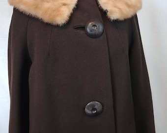 Vintage 1950's Molineaux Long Gabardine Dress Coat with Mink Collar/ Worsted Wool Women's Vintage Coat