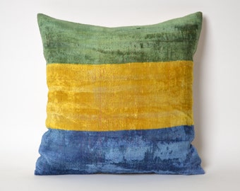Designer throw pillow Ikat Velvet Pillow Cover Modern Yellow Green Blue Pillow eclectic home decor cottage home family room decor
