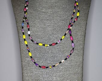 Magazine beads   Paper Bead Necklaces   Up-cycled newspapers and magazines