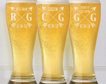 Groomsmen Gift, Personalized Beer Glasses, Custom Engraved Pilsner Glass, Wedding Party Gifts, Gifts for Groomsmen, 16oz Glasses