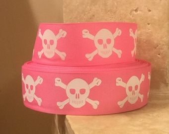 """5 YDS Pink Pirate Skull and Crossbones Ribbon (1.5"""")"""