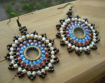 FREE US SHIPPING-Archeon:Circular brick stitch earrings, seed bead hoop earrings
