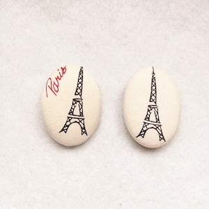 White Eiffel Tower Fabric Cover Button Sew Shank Decoration Diy Accessories 1.25inch