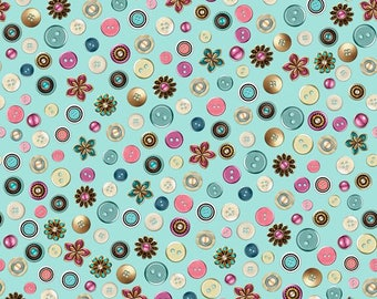 Quilting Treasures Cute As A Button Aqua Buttons & Flowers fabric - 1 yard