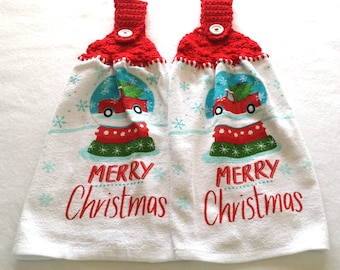 Christmas Hanging Kitchen Towels ~ Hanging Hand Towels ~ Hanging Dish Towels ~ Kitchen Towel ~ Set of 2