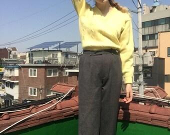 Grey pinstripe pants/ Vintage high waisted trousers/ High waisted pants/ Pleated pants/ Cuffed trousers/ Vintage Japanese/ Men's cut pants