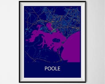 Poole Map Poster Print - Night