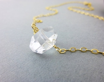 Crystal Quartz Chakra Necklace, Sterling Silver or 14K Gold Fill, Quartz Nugget, Crown Chakra, Harmonizes all Chakras