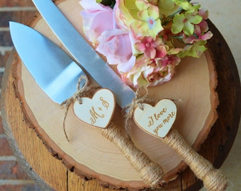 Personalized Rustic Wedding Cake Cutter And Knife Customized Burlap Wedding Cake Knife, Bridal Shower Gift For the Bride To Be(K103)