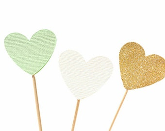 Mint Gold and Ivory Heart Cupcake Toppers / Food Picks / Wedding /  Valentines Day /  Love Wedding - Gold Glitter and Mint Green