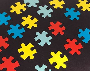 Autism Awareness Table Confetti Jigsaw Puzzle Pieces