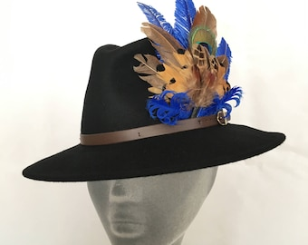 ARABELLA Ladies Black Wool Felt Trilby with Pheasant Feather Trim - Perfect for Cheltenham Races, Grand National, Country hat, Ladies Day