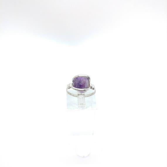 Raw Amethyst Ring | Sterling Silver Ring Sz 7 | Raw Stone Ring | Raw Crystal Ring | Dark Purple Crystal Ring | Rough Purple Quartz Ring