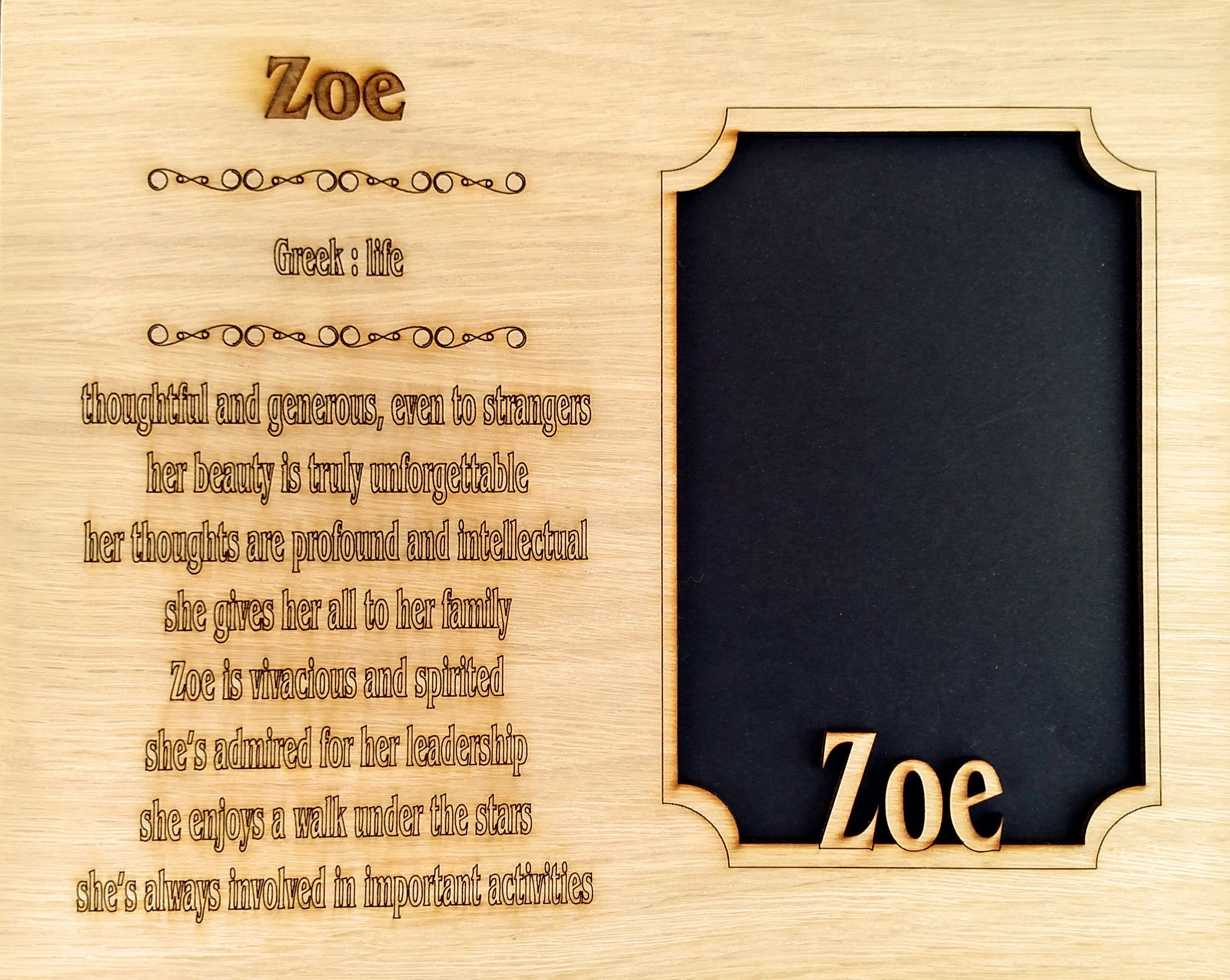 Name Meaning Mat Insert for 8x10 frame NO FRAME INCLUDED