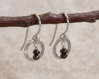Hammered Sterling Silver Orbit & Brown Seed Pearl Earrings