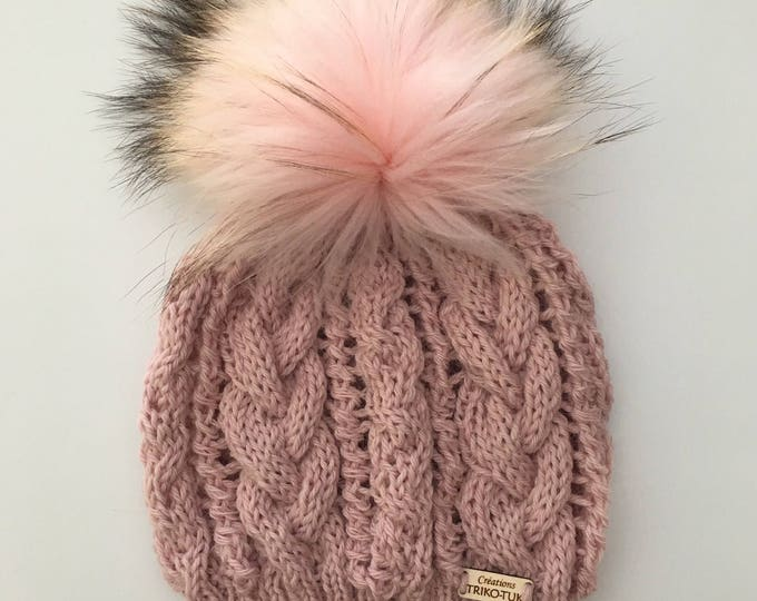 Women knit hat cable 100% Merino and removable fur Pompom - hand knitted Hat