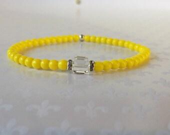 Beaded Bracelet, Stacking Bracelets, Crystal Bracelet, Layering Bracelets, Czech Glass Yellow Beads