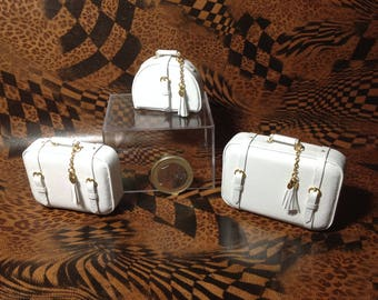 Real leather miniature luggage:set of 3 pieces