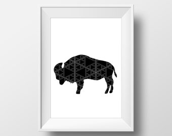 Aztec Buffalo 8x10 Print | INSTANT DOWNLOAD Digital PDF