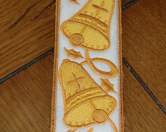 Embroidered Bookmark - Gold Bells