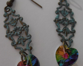 Dainty, vintage style Verdigris finish earrings with Swarovski crystals