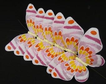 6 Pink Butterfly Feather Butterflies Fake Butterflies Cake Topper Embellishments Artificial Butterflies