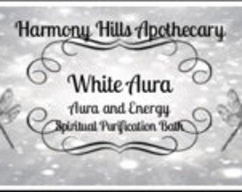WHITE AURA Therapeutic Bath Salts, Cleansing, Spiritual, Ritual, Relaxation. 5 ounces with bonus reusable cotton muslin bath tea bag.