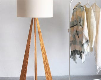 Floor Lamp -Flame, natural wood, modern lamp