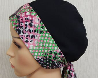 Black chemotherapy head scarf, cancer bonnet, surgical cap, chemo head covering, Alopecia hair loss bandanna, tie back cancer headscarf