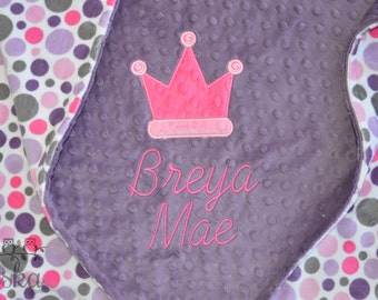 personalized blanket, minky blanket, personalized name blanket, name and crown blanket, choose your colors, choose your size