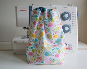 Handmade Waterproof Toiletry/Wash/Drawstring Bag - Maude Ashbury - Swimming with the Fishes - Kids - Gift