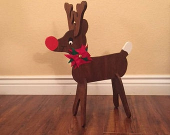 wooden reindeer homemade; homemade wooden reindeer; Christmas wooden reindeer homemade; wooden reindeer; Rudolf the Red Nose Reindeer