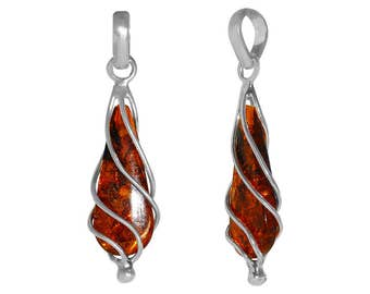 1 Pc 11-16x32-44 mm Amber Natural Wrapped Teardrop Gemstone Pendant (GSP100139)