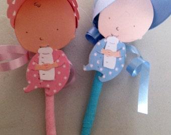 Handmade Baby Shower favors baby pink or blue includes hidden lollipop