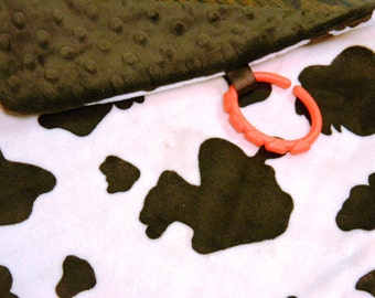 Minky Lovey, Security Blanket Cow Print Minky with Brown Dimple Dot Minky Backing - great for a new baby