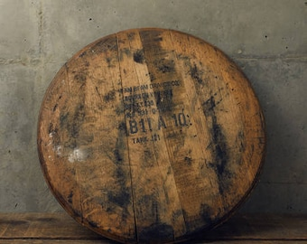 Reclaimed Bourbon Whiskey Barrel Head - Comes Ready to Hang with Barrel Head, Backing Board and Mounting Hardware