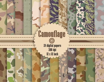 """24 Camouflage Pattern Digital Papers 12"""", Digital Papers,  Camouflage Digital Paper, Digital Paper Pack, Commercial Use"""