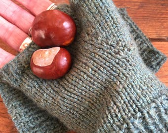 Handwarmer mitts, khaki fingerless gloves, knitted mittens, Hand knitted fingerless gloves, handknit mitts, green yarn mittens, large size