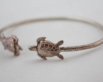 Vintage Bronze Tone Turtle Slim Bangle Bracelet