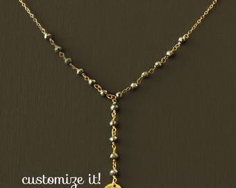 Rosary Y Initial Necklace - Gold Filled with Semi Precious Stones