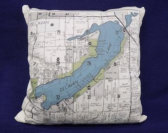 Map pillows etsy handmade map pillow of delavan lake wisconsin gumiabroncs Choice Image