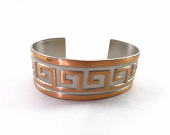Geometric Silver and Copper Cuff Vintage Bracelet Geometric Design with Copper