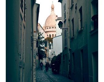 PARIS Photography, Sacre Coeur Photo, Street in Montmartre Photo, Cobbled Street in Paris Photo, Paris Laneway, Church in Paris Photography