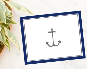 Personalized, stationery, Anchor Note Cards