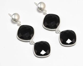 Black onyx 92.5 sterling silver earring