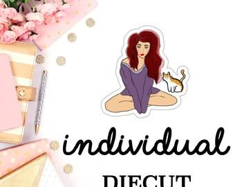 red hair girl with kitty || DIECUT (D010)