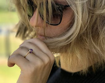 Stacking ring 14k gold amethyst ring gemstone ring birthstone ring gold jewelry for women personalized ring thin dainty ring slim ring