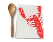 Linen Lobster Tea Towel, Sea Life Tea Towel, Beach House Tea Towel, Kitchen Gifts, Red Lobster Kitchen Towel Dishtowel, Seafood Lover Gift