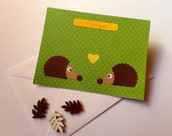 Hedgehog Thank you Card - Thank You Card - Handmade Thank You Card - Thank You Greeting Card - Hedgehog Card -Hedgehog Greeting Card