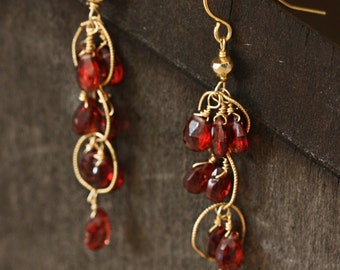 Will you be my Valentine, 14k gold and Garnet Gemstone Drop Earrings
